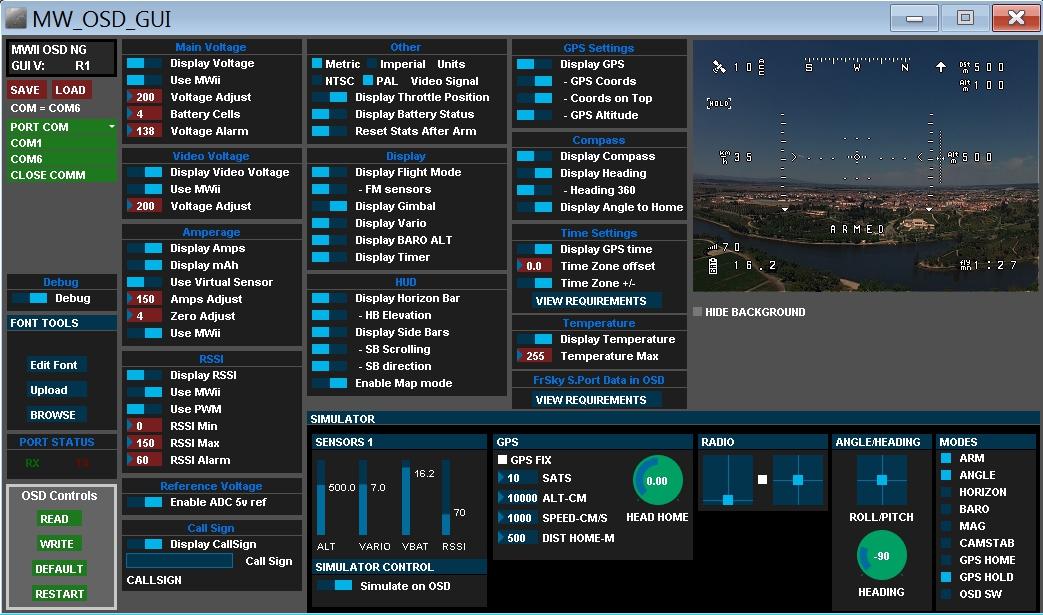 MWOSD GUI Software Naze32 OSD Setup