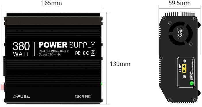 SkyRc eFuel 16A 380W 24V DC Power Supply Size