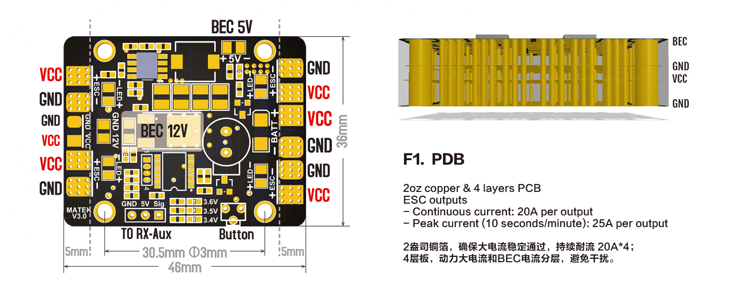 Matek 5 In 1 Led Power Hub V3 Pdb With 12v Bec Buzzer Flying Wiring Diagram For Low Voltage Motor Connections