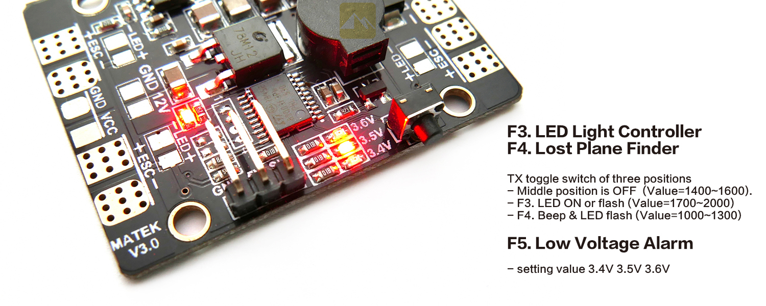 Matek 5 in 1 Power Hub with LED Driver and Lost Model Alarm