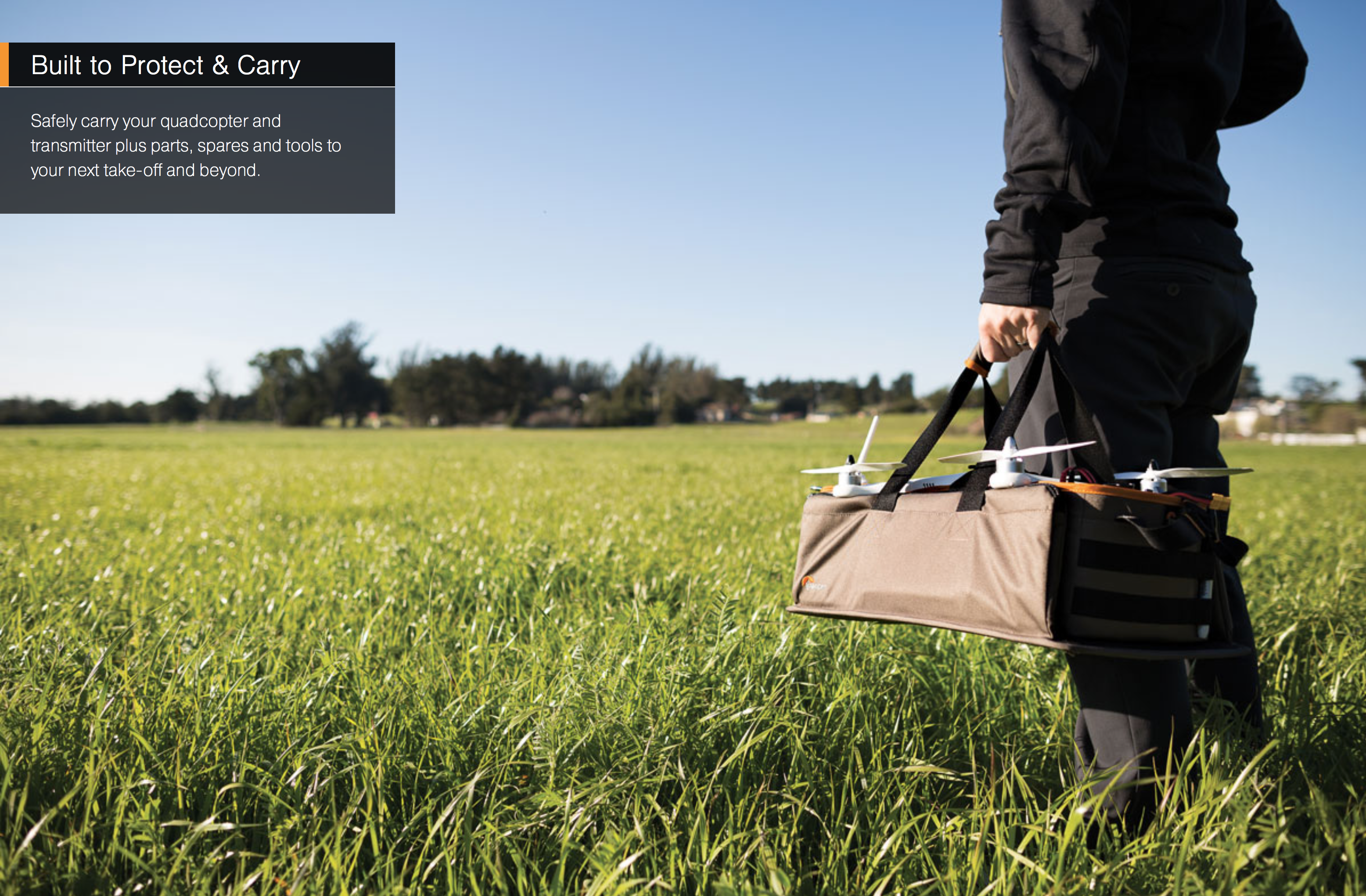 Simply fold up the sidewalls, close the security strap and handle, and you are ready to carry your drone kit to your location.