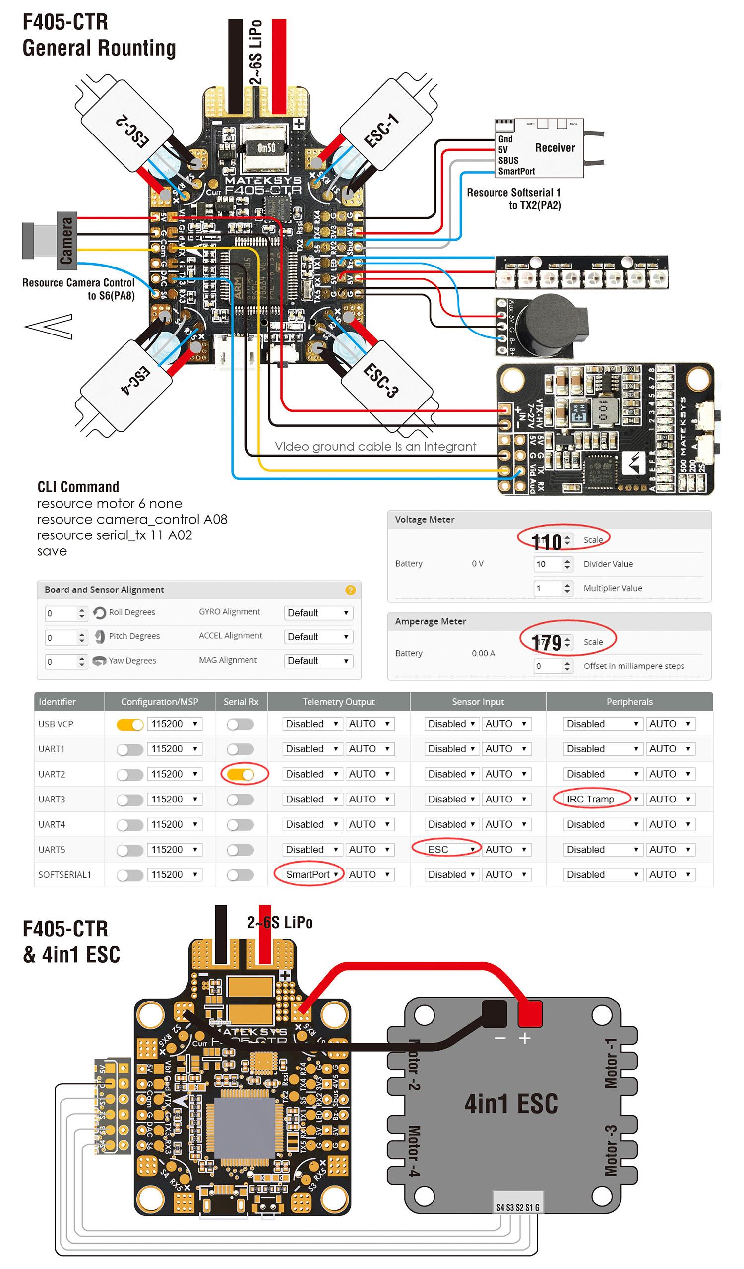 Matek F405-CTR Wiring