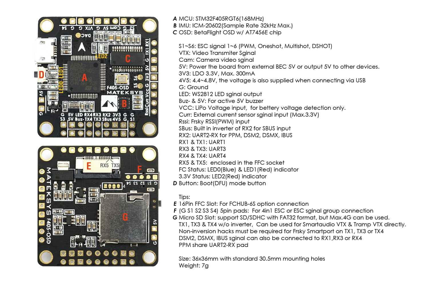 MATEK FLIGHT CONTROLLER F405-OSD Connections