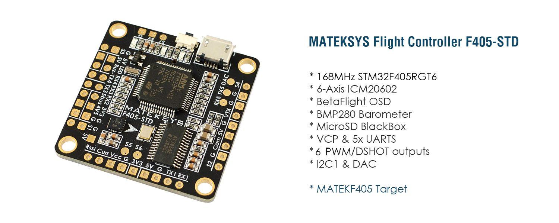 Matek F405-STD F4 Betaflight Flight Controller w/ OSD & Baro