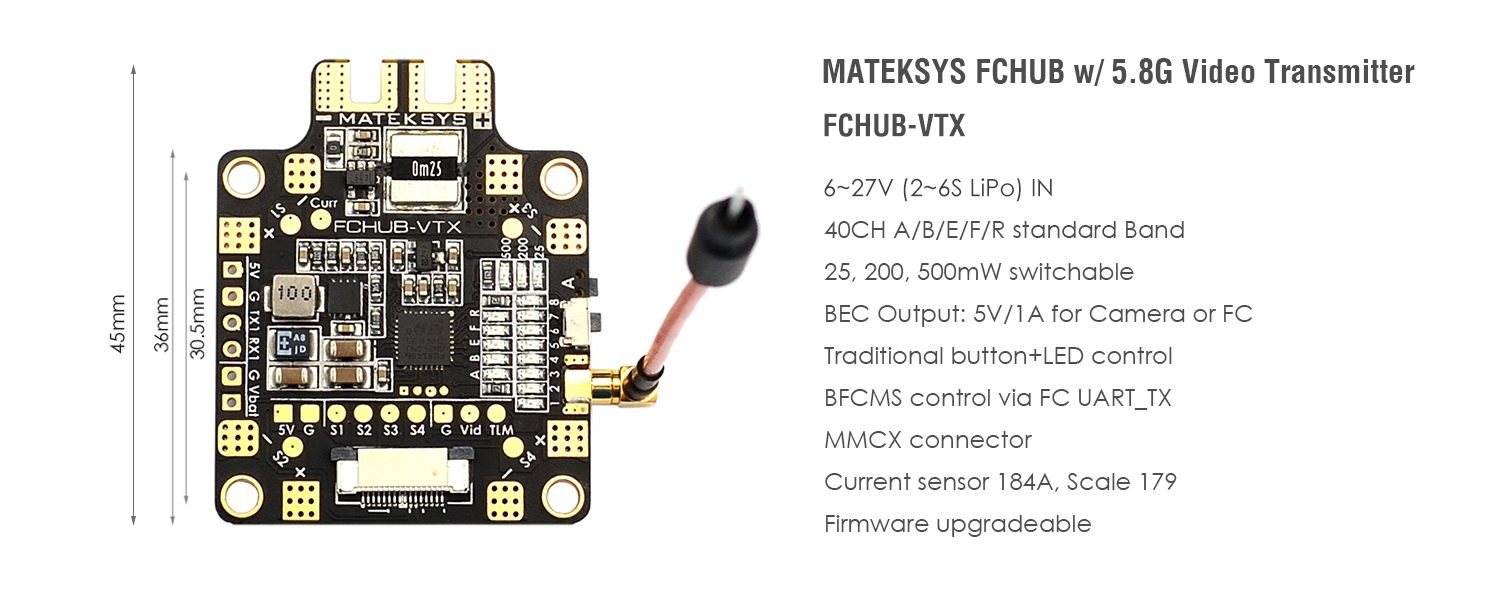FCHUB-VTX W/5.8G VIDEO TRANSMITTER SPEC