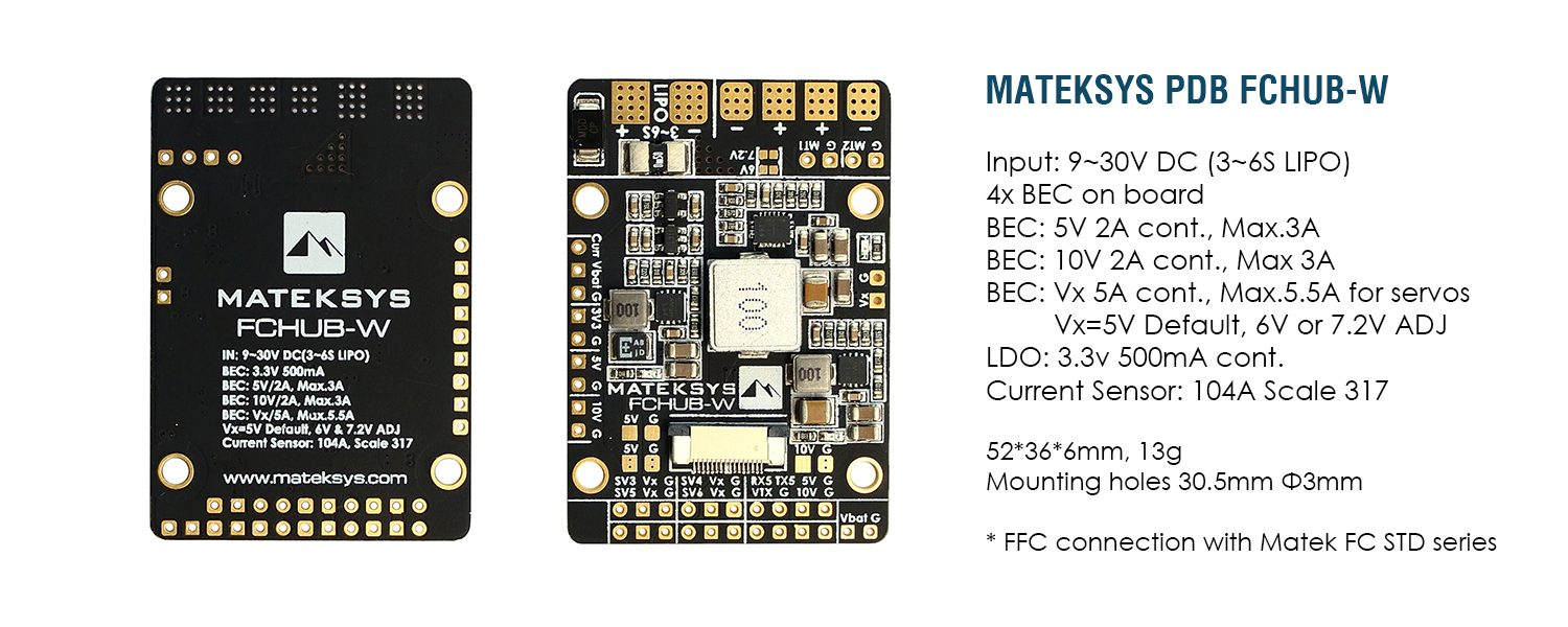 MATEK Fixed Wing PDB FCHUB-W Specification