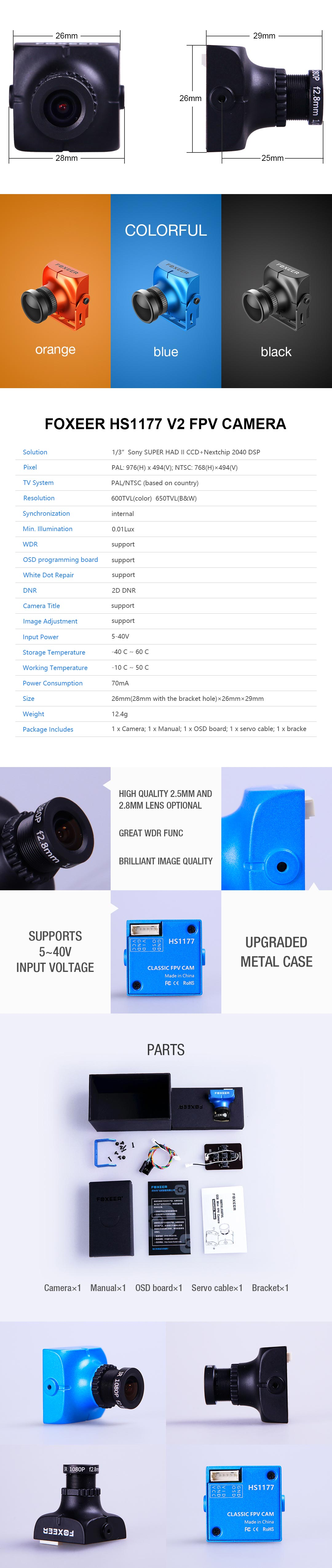 Foxeer HS1177 V2 600TVL FPV CCD Camera with 2.8mm Lens