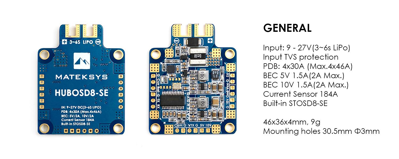 Matek HUBOSD8-SE 9-27V PDB with Current Sensor & Dual BEC
