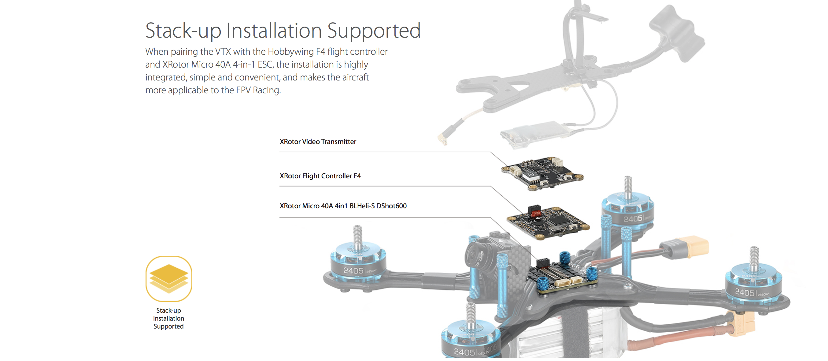 Stack-up Installation Supported: When pairing the VTX with the Hobbywing F4 flight controller and XRotor Micro 40A 4-in-1 ESC, the installation is highly integrated, simple and convenient, and makes the aircraft more applicable to the FPV Racing.
