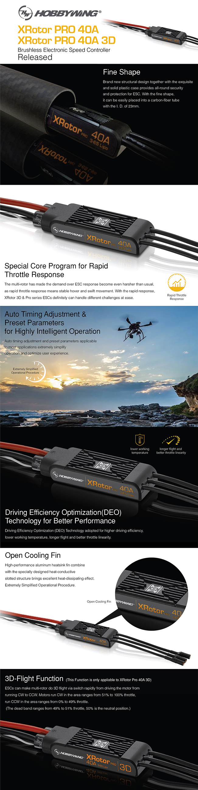 Hobbywing XRotor Pro 40A 2-6S OPTO Multirotor ESC (Dual Pack)