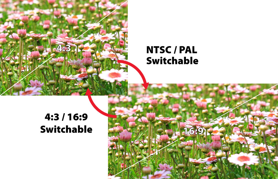 Switchable Aspect ratio (16:9/4:3)