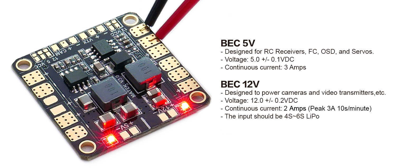 matek mini quad pdb 5v 12v bec outputs 36x36mm flying tech matek mini quad pdb bec outputs 5 12volts