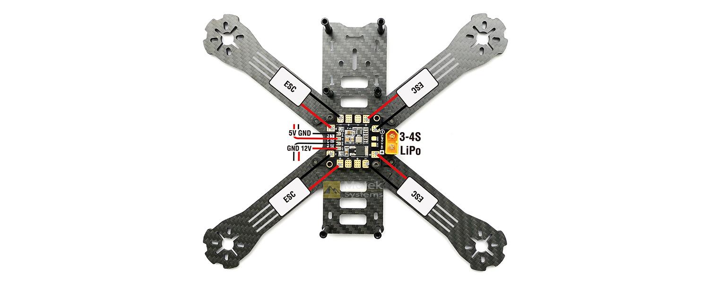 matek xt60 quad pdb with 5v  u0026 12v bec outputs  36x36mm