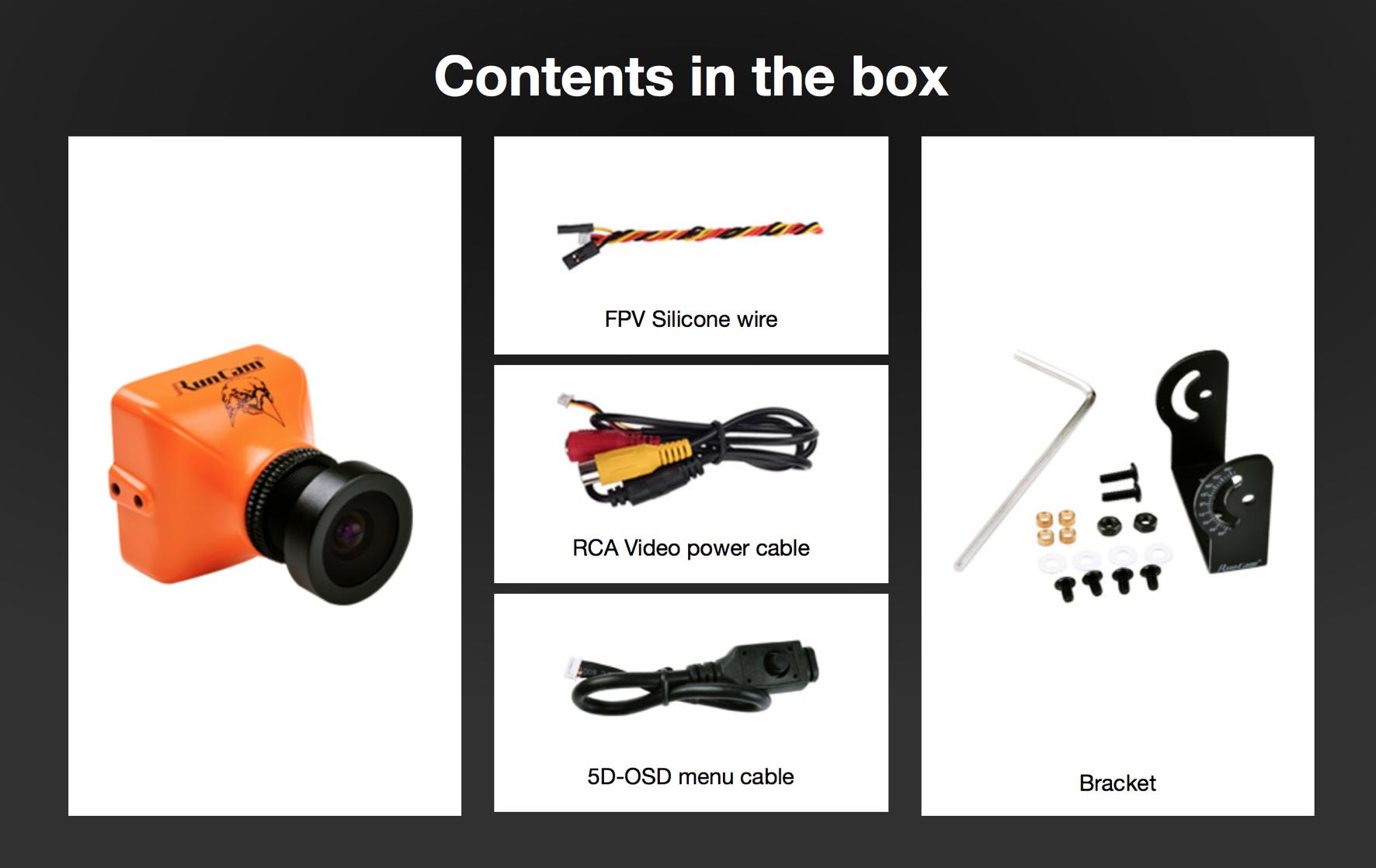 RunCam Eagle Box Contents: Camera, Tilt Mount, OSD Cable, Cable