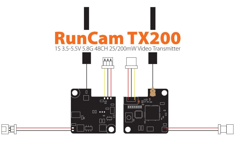 RunCam TX200 5.8GHz 48CH 25/200mW Micro FPV VTX