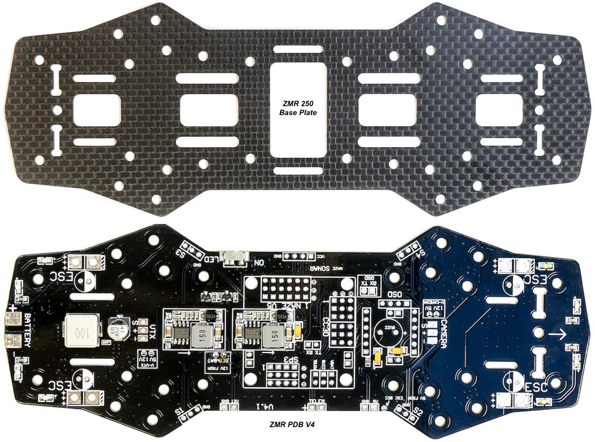 V4 Zmr 250 Pdb W   5  U0026 12v Bec Lc Filter Buzzer  Osd  Fc Pcb