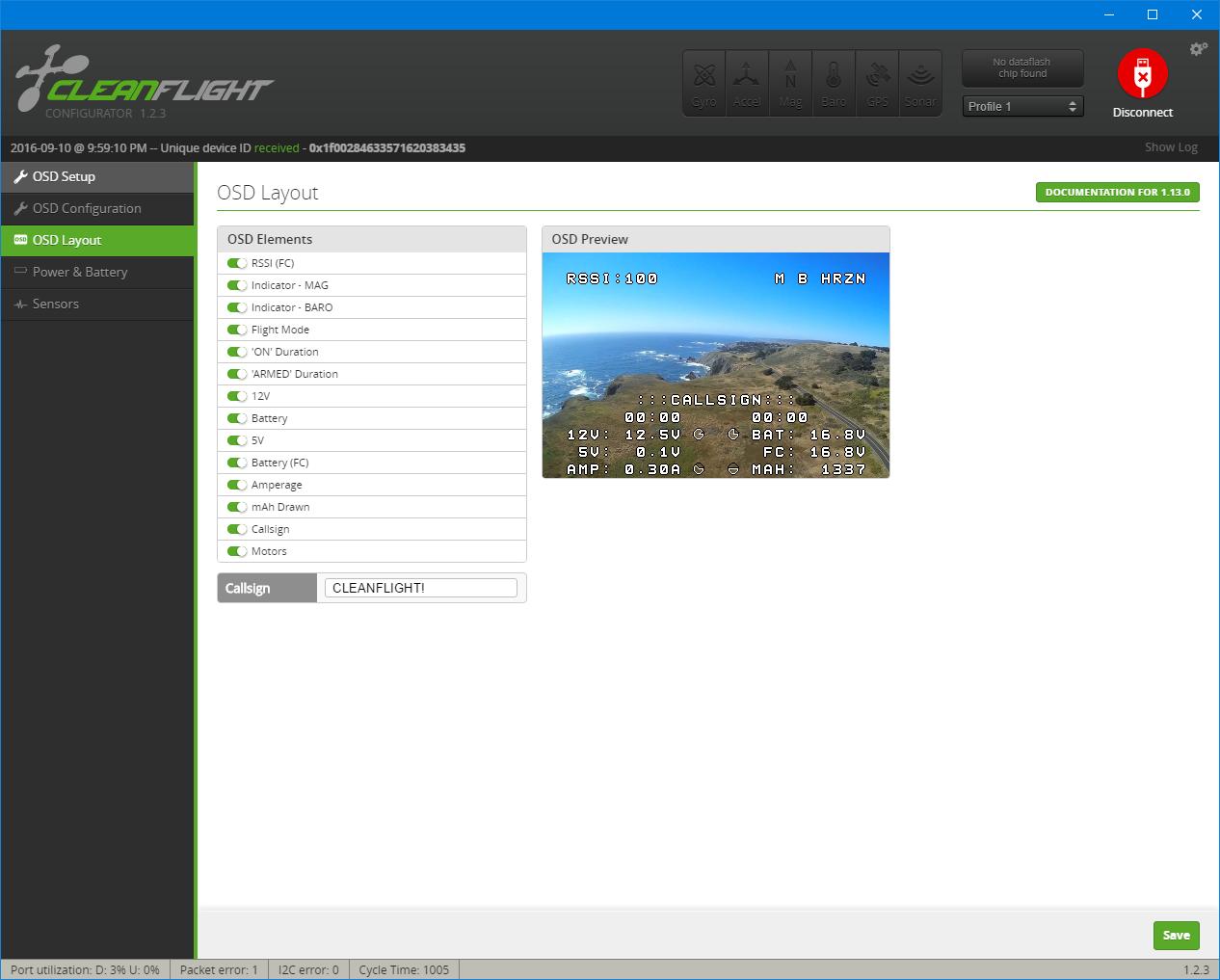 Cleanflight OSD Configurator