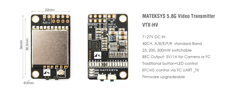 MATEK VIDEO TRANSMITTER 5.8G VTX-HV W/ BFCMS CONTROL
