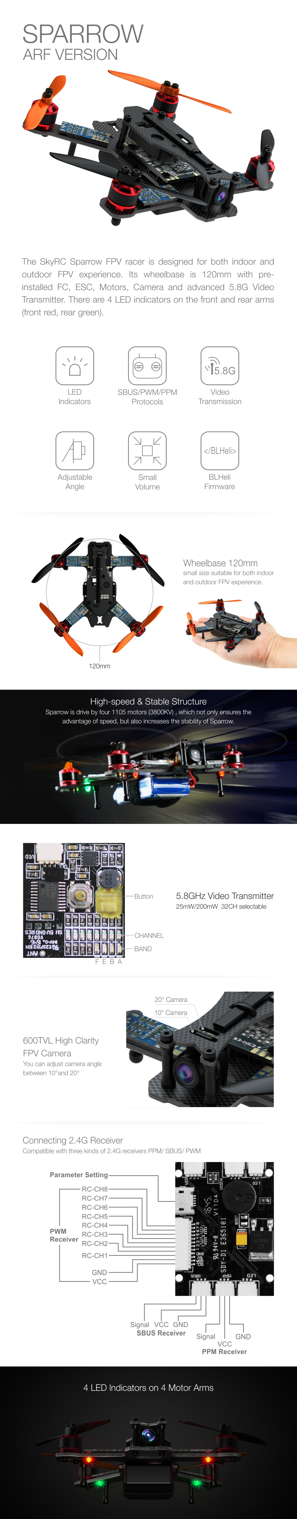 Sparrow ARF FPV Racing Drone Features