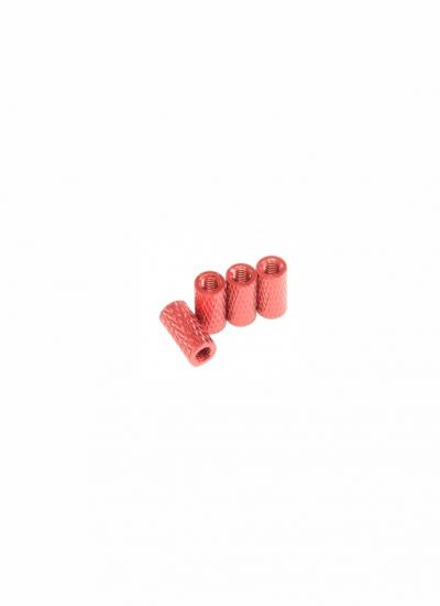 Knurled Red Anodised Aluminium Alloy Spacers M3 x 10mm (4 Pcs)