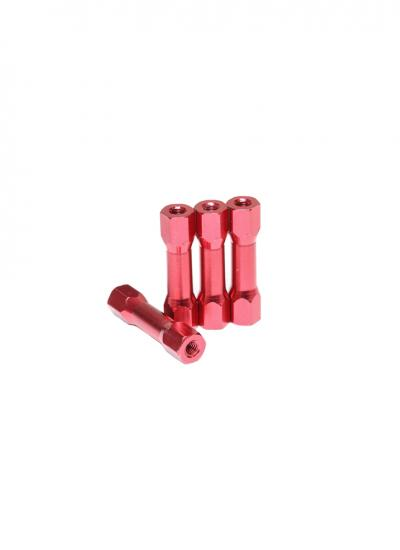 Red Anodised Aluminium Alloy Spacer with Hexagonal Head - M3 x 25mm (4 Pcs)