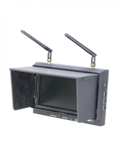 """DYS-700D 5.8GHz 32-Ch Diversity 7"""" LCD FPV DVR Monitor Receiver with Folding Sunshade"""