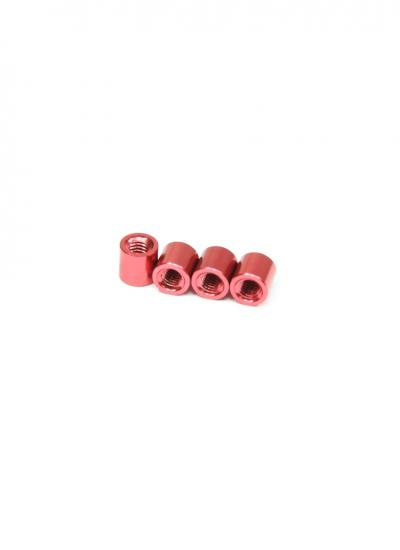 Red Anodised Aluminium Alloy Spacer / Standoff M3 x 5mm (4 Pcs)