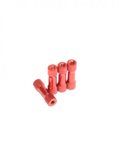 Partly Knurled Red Anodised Aluminium Alloy Spacer with Stepping M3 x 20mm (4 Pcs)