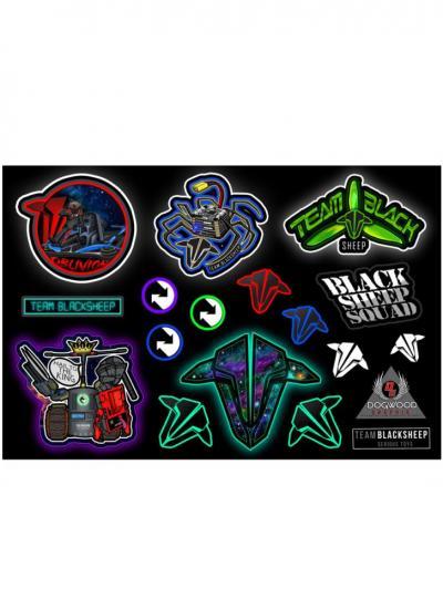 Team Black Sheep TBS Sticker Sheet - Designed by DogWood Graphix (Version F)